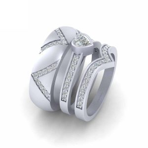 Bezel Set Diamond Heart Engagement Ring Set