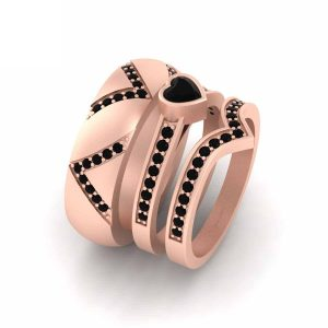 3 Pc Matching Couple Rose Gold Engagement Rings