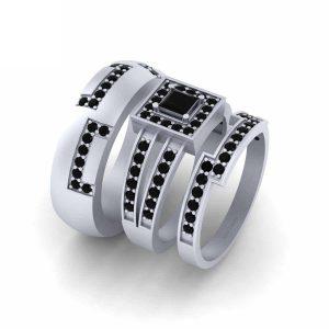 Classic Matching Black Onyx Engagement Ring Set