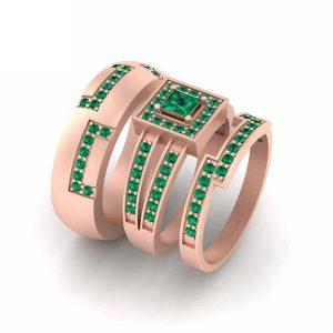 Green Emerald Halo Couple Wedding Ring Band Set