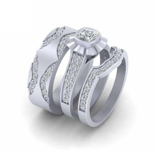 Cushion Cut Diamond Engagement Ring Band Set
