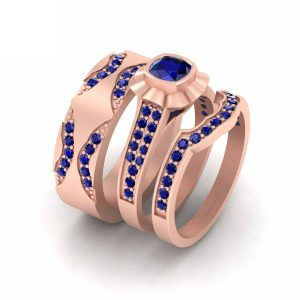 3pc Rose Gold Matching Couple Wedding Band Set