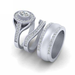 3Pc Oval Diamond Halo Engagement Ring Band Set