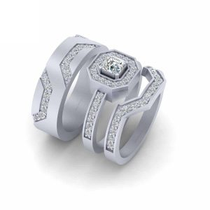 Classic Halo Diamond 3Pc Engagement Ring Set