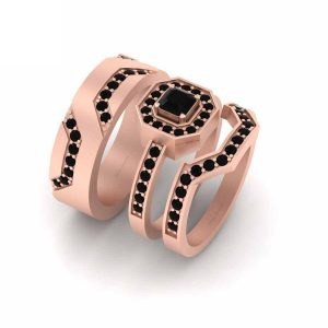 Classic Black Onyx Rose Gold Engagement Ring Set