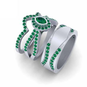 Green Emerald Marquise Cut Engagement Ring Set