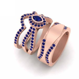 Classic Blue Sapphire Rose Gold Engagement Rings