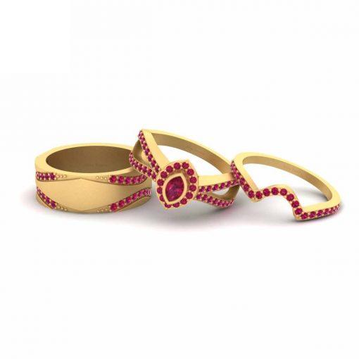 PINK RUBY WEDDING RING SET