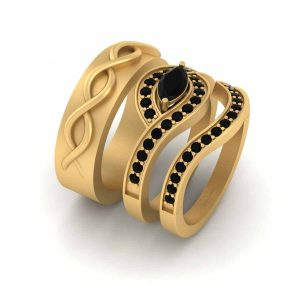 Classic Black Diamond Bride Groom Wedding Bands