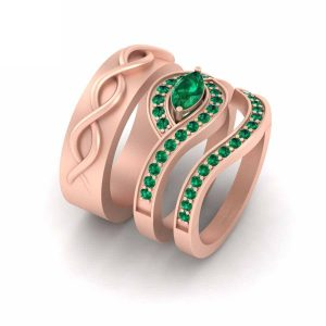 Classic Emerald Green Rose Gold Wedding Band Set