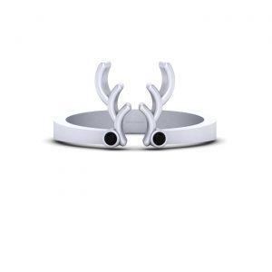 Silver Deer Antler Ring Christmas Jewelry