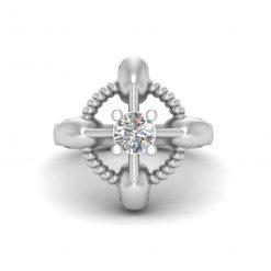 SOLITAIRE DIAMOND SKULL ENGAGEMENT RING