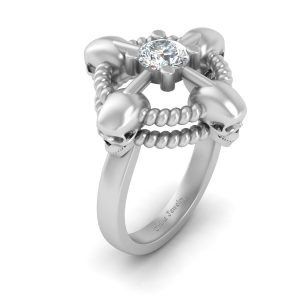 Solitaire Diamond Skull Engagement Ring