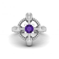 PURPLE AMETHYST SKULL WEDDING RING