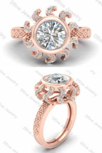 Moissanite Engagement Ring Rose Gold