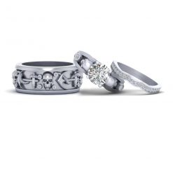 SKULL ANCHOR COUPLE WEDDING RING SET