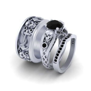 3pc Couple Skull Engagement Ring Band Set