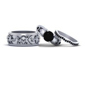 3pc Couple Engagement Ring Band Set