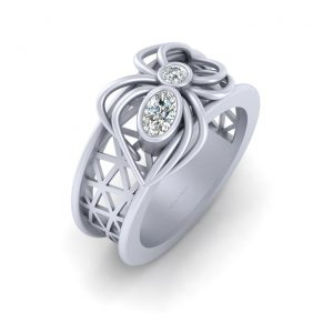 Elegant Spider Mesh Design Wedding Ring