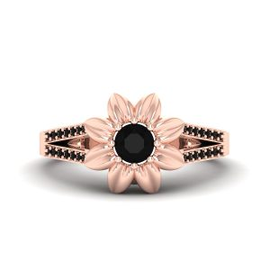 Rose Gold Skull Flower Ring