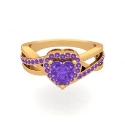 SOLID 18K GOLD HEART RING