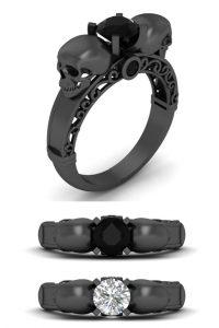 Black Diamond Skull Ring For Women