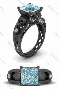 Aqua Moissanite Gothic Skull Engagement Ring For Women