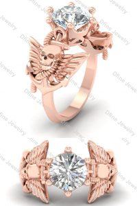 Rose Gold Filled Moissanite Skull Wedding Ring For Women