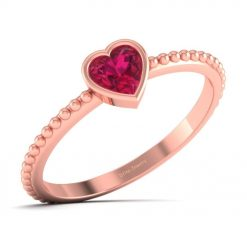 RUBY SOLITAIRE HEART PROMISE RING