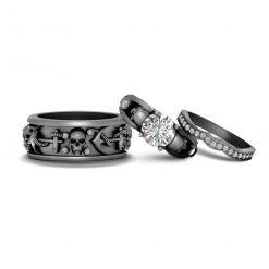 3PC SKULL WEDDING RINGS