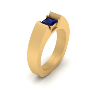 Blue Sapphire Solitaire Band