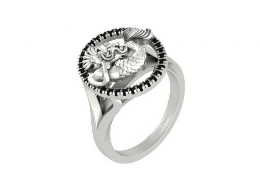 MARINE AQUATIC CREATURE MERMAID ENGAGEMENT RING