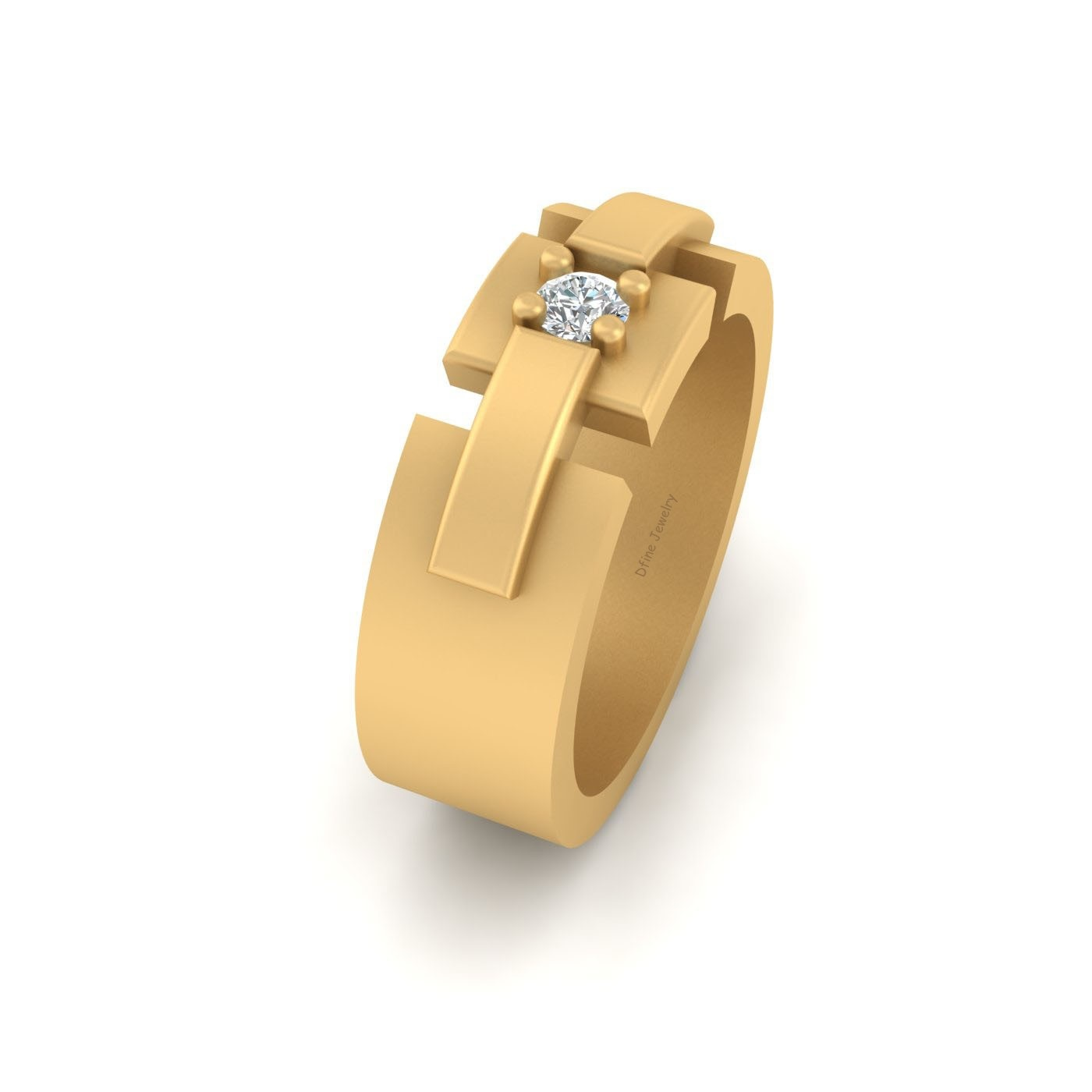 Diamond Groom Wedding Band Mens Jewelry Solid 14k Yellow Gold