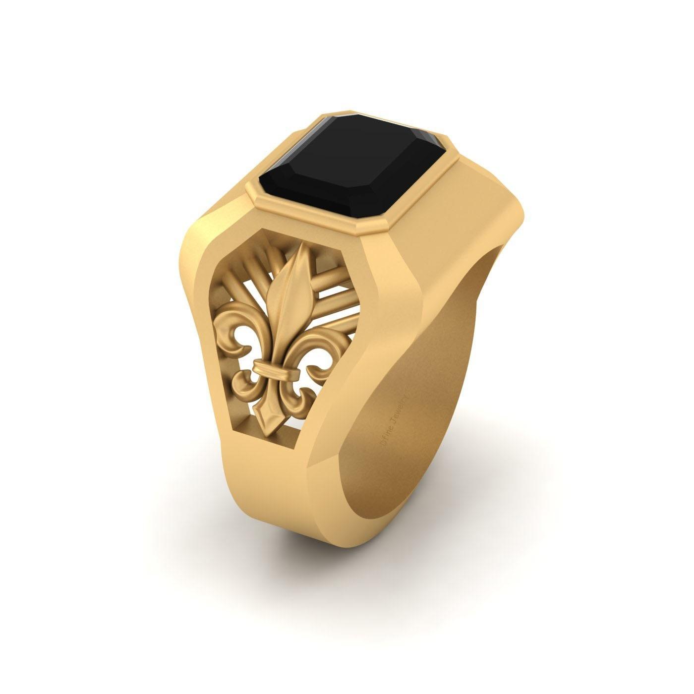 gold fleurdelis wedding ring for him black onyx lily