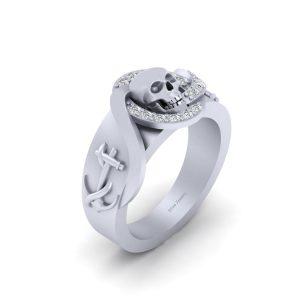 SKULL AND ANCHOR WEDDING RING