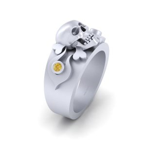 SILVER SKULL AND CROSSBONES RING