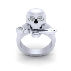 SKULL ENGAGEMENT RING WITH KNIFE