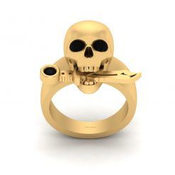 GOLD SKULL RING WITH KNIFE