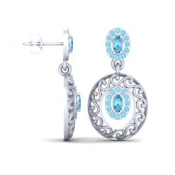 AQUA DIAMOND WEDDING EARRINGS