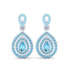AQUA DIAMOND TEARDROP EARRINGS