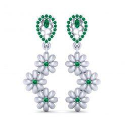 GREEN CZ FLOWER EARRINGS