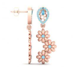 AQUA DIAMOND FLOWER EARRINGS