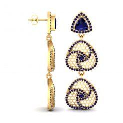 SAPPHIRE CELTIC EARRINGS GOLD