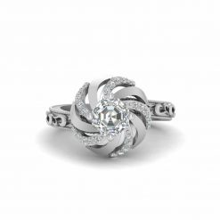 Octagon Diamond Engagement Ring