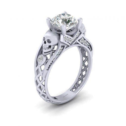 DIAMOND SKULL ENGAGEMENT RING