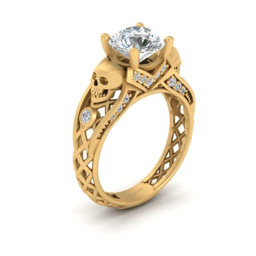 GOLD SKULL WEDDING RING