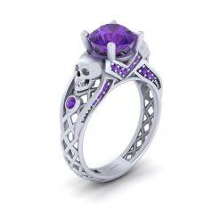 AMETHYST SKULL WEDDING RING