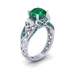 Emerald Skull Engagement Ring