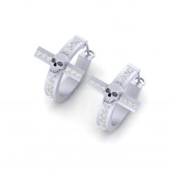 DIAMOND SKULL EARRINGS SILVER