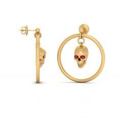 GOLD DANGLE SKULL EARRINGS